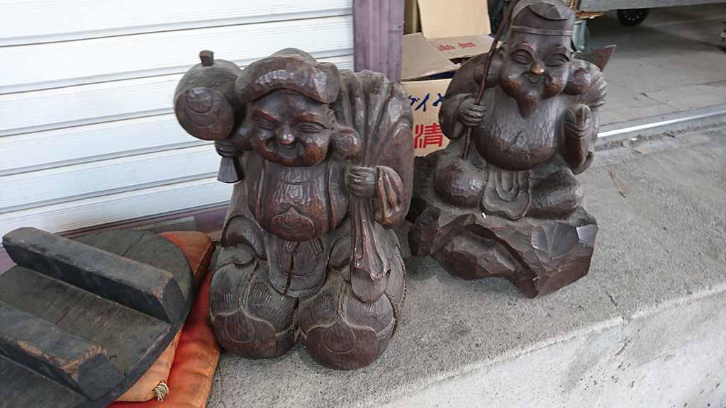 マルミ工藝社_骨董品_明治時代初期 木彫恵比寿大黒像